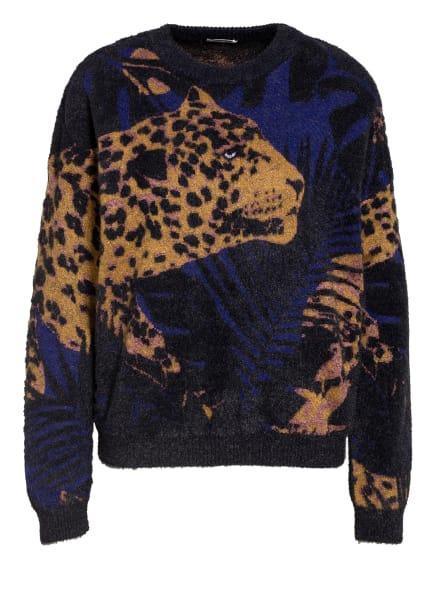 SAINT LAURENT Pullover mit Glitzergarn, Farbe: SCHWARZ/ DUNKELGELB/ DUNKELLILA (Bild 1)