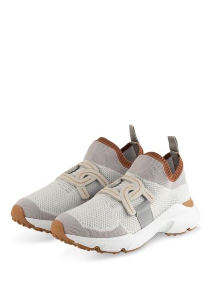 TOD'S Plateau-Sneaker , Farbe: WEISS/ HELLGRAU/ COGNAC (Bild 1)