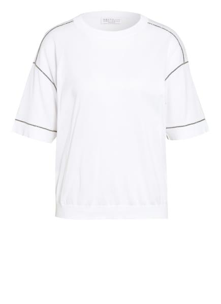 BRUNELLO CUCINELLI T-Shirt mit Schmucksteinbesatz , Farbe: WEISS/ SILBER (Bild 1)