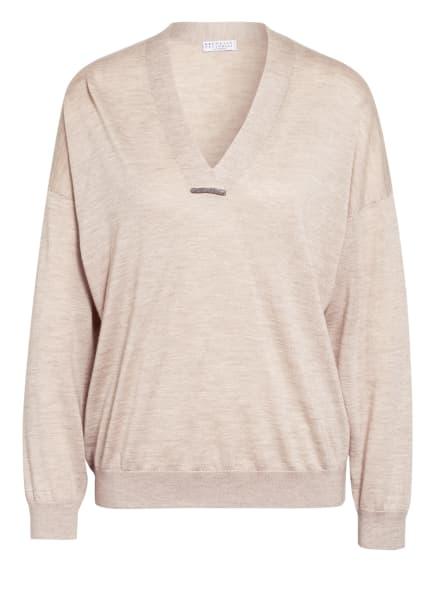 BRUNELLO CUCINELLI Cashmere-Pullover mit Seide, Farbe: BEIGE (Bild 1)