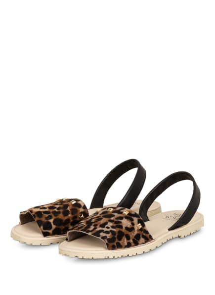 WALK AND LOVE Sandalen mit Nietenbesatz, Farbe: SCHWARZ/ CAMEL/ HELLBRAUN (Bild 1)