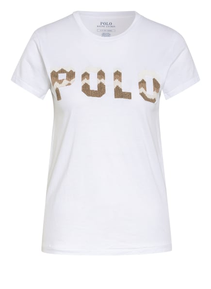 POLO RALPH LAUREN T-Shirt mit Perlenbesatz, Farbe: WEISS (Bild 1)