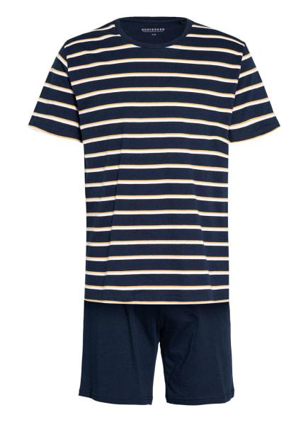 SCHIESSER Shorty-Schlafanzug ESSENTIALS, Farbe: DUNKELBLAU/ WEISS/ DUNKELGELB (Bild 1)