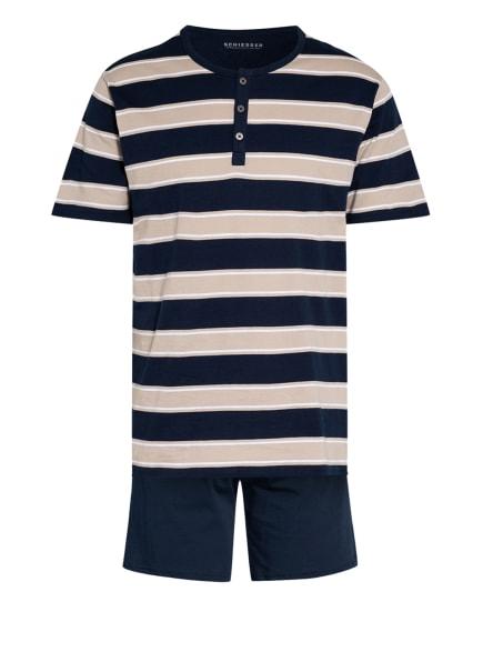 SCHIESSER Shorty-Schlafanzug, Farbe: DUNKELBLAU/ BEIGE (Bild 1)