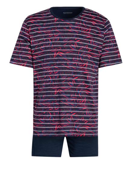 SCHIESSER Shorty-Schlafanzug SELECTED! PREMIUM INSPIRATION, Farbe: DUNKELBLAU/ ROT (Bild 1)