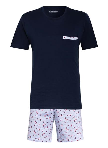 SCHIESSER Shorty-Schlafanzug, Farbe: DUNKELBLAU/ ROT/ WEISS (Bild 1)