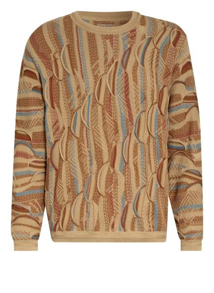 Nudie Jeans Pullover DIDRIK, Farbe: BEIGE/ HELLBLAU/ DUNKELORANGE (Bild 1)