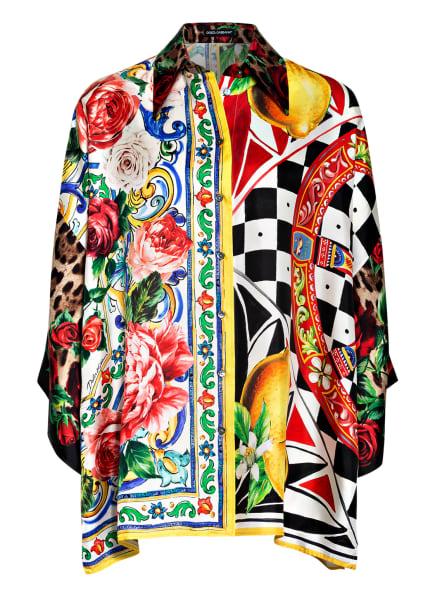 DOLCE&GABBANA Oversized-Hemdbluse aus Seide, Farbe: SCHWARZ/ WEISS/ ROT (Bild 1)
