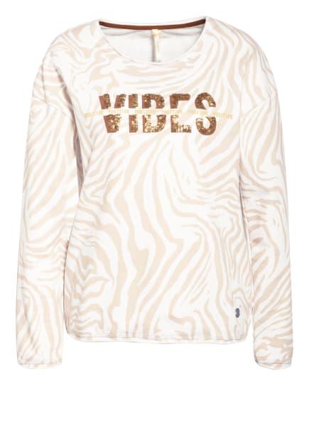 KEY LARGO Sweatshirt GROOVE mit Paillettenbesatz, Farbe: WEISS/ BEIGE (Bild 1)