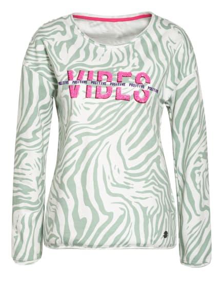 KEY LARGO Sweatshirt GROOVE mit Paillettenbesatz, Farbe: WEISS/ HELLGRÜN (Bild 1)
