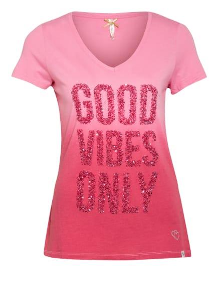 KEY LARGO T-Shirt mit Pailletten- und Schmucksteinbesatz, Farbe: PINK/ ROSA (Bild 1)