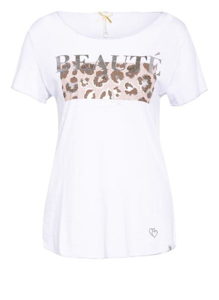 KEY LARGO T-Shirt BEAUTY mit Schmucksteinbesatz und Glitzergarn, Farbe: WEISS (Bild 1)