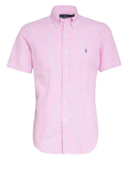 POLO RALPH LAUREN Kurzarm-Hemd Custom Fit, Farbe: ROSA/ WEISS (Bild 1)