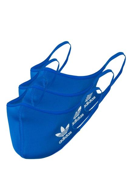adidas Originals 3er-Set Mund- und Nasenmaske, Farbe: BLAU (Bild 1)
