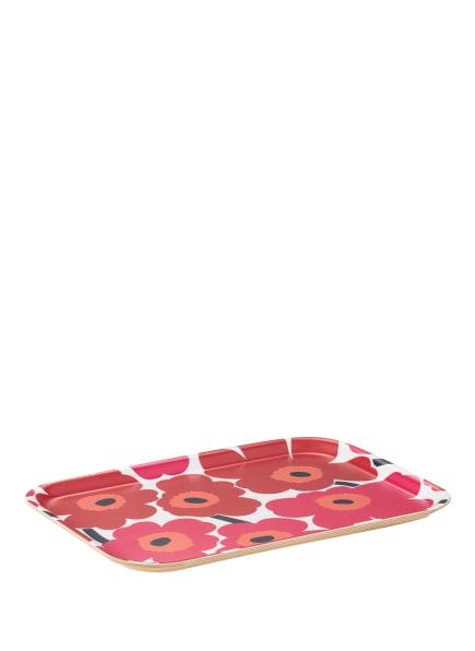 marimekko Tablett UNIKO MINI, Farbe: WEISS/ PINK/ DUNKELROT (Bild 1)