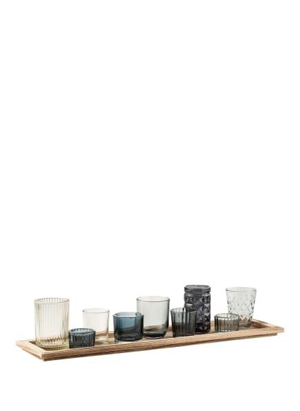 Bloomingville 10-tlg. Set ELVIE: Teelichthalter und Tablett, Farbe: HELLBRAUN/ BLAU/ WEISS (Bild 1)