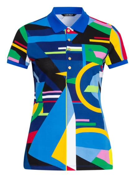 LAUREN RALPH LAUREN Piqué-Poloshirt, Farbe: BLAU/ GELB/ ROT (Bild 1)