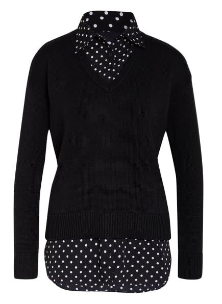 LAUREN RALPH LAUREN Pullover PERDYTA mit Blusenbesatz, Farbe: WEISS/ SCHWARZ (Bild 1)