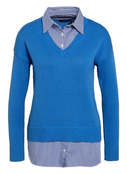 LAUREN RALPH LAUREN Pullover PERDYTA mit Hemdblusen-Einsatz, Farbe: HELLBLAU/ WEISS (Bild 1)