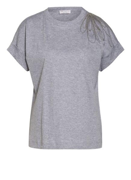 BRUNELLO CUCINELLI T-Shirt mit Schmucksteinbesatz , Farbe: HELLGRAU (Bild 1)