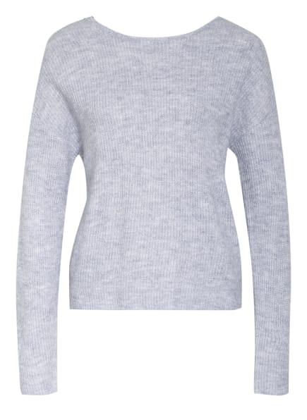 VILA Pullover mit Spitzenbesatz, Farbe: GRAU/ SCHWARZ (Bild 1)