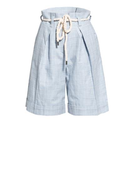 CLAUDIE PIERLOT Paperbag-Shorts EFFECTO, Farbe: HELLBLAU/ WEISS/ SCHWARZ (Bild 1)