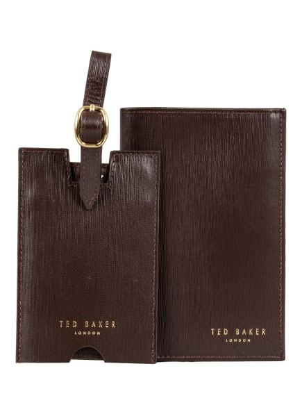 TED BAKER Set: Reisepass-Etui und Gepäckanhänger PAINTT, Farbe: DUNKELBRAUN (Bild 1)