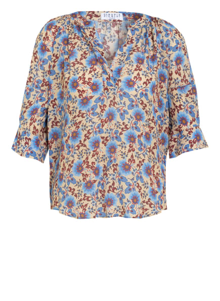 CLAUDIE PIERLOT Blusenshirt BIANCA mit Seide, Farbe: HELLBRAUN/ HELLBLAU/ DUNKELROT (Bild 1)