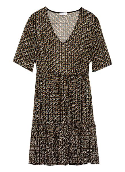 CLAUDIE PIERLOT Kleid RAUCHA mit Rüschenbesatz und Glitzergarn, Farbe: SCHWARZ/ GRÜN/ ORANGE (Bild 1)