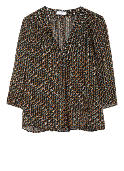 CLAUDIE PIERLOT Blusenshirt mit 3/4-Arm, Farbe: SCHWARZ/ ORANGE/ GRÜN (Bild 1)