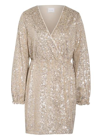 VILA Kleid mit Paillettenbesatz, Farbe: BEIGE/ SILBER (Bild 1)