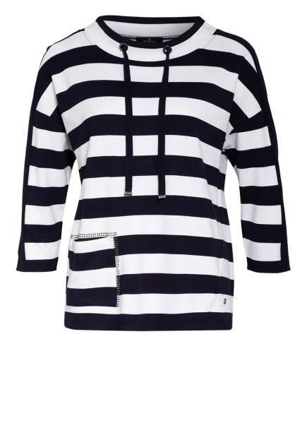 monari Sweatshirt mit Schmucksteinbesatz, Farbe: DUNKELBLAU/ WEISS (Bild 1)