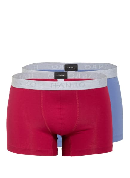 HANRO 2er-Pack Boxershorts COTTON ESSENTIALS, Farbe: 2091 barberry spice / forget me not (Bild 1)