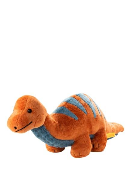 Steiff Dinosaurier-Kuscheltier BRONKO BRONTOSAURUS, Farbe: DUNKELORANGE/ BLAU (Bild 1)