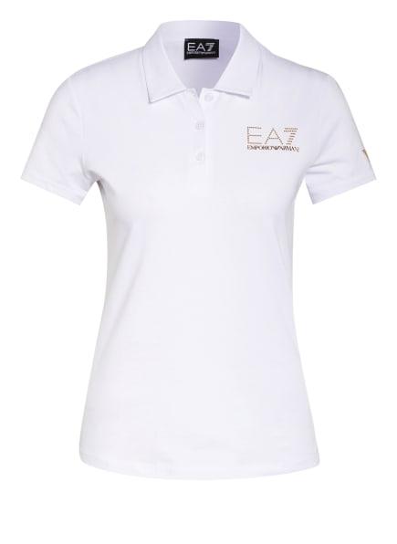 EA7 EMPORIO ARMANI Jersey-Poloshirt mit Schmucksteinbesatz, Farbe: WEISS/ GOLD (Bild 1)