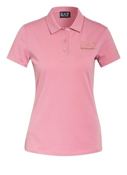 EA7 EMPORIO ARMANI Jersey-Poloshirt mit Schmucksteinbesatz, Farbe: ROSÉ/ GOLD (Bild 1)
