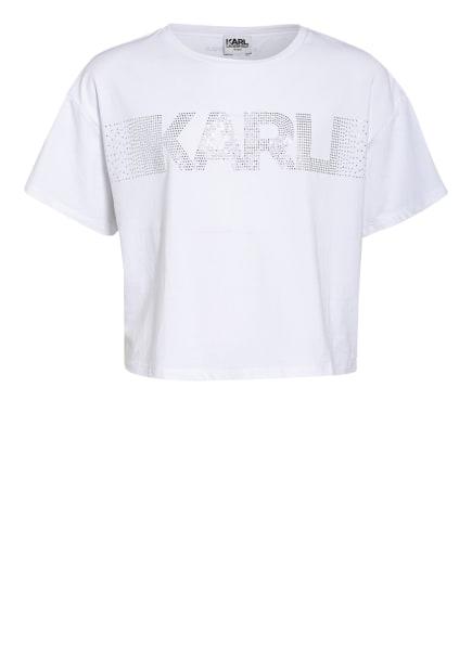 KARL LAGERFELD KIDS Cropped-Shirt mit Schmucksteinbesatz, Farbe: WEISS (Bild 1)