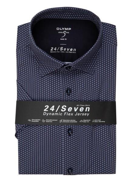 OLYMP Kurzarm-Hemd Level Five 24/7 body fit, Farbe: DUNKELBLAU/ ROT/ WEISS (Bild 1)