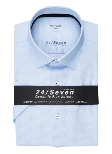 OLYMP Kurzarm-Hemd Luxor 24/7 modern fit, Farbe: HELLBLAU/ WEISS (Bild 1)