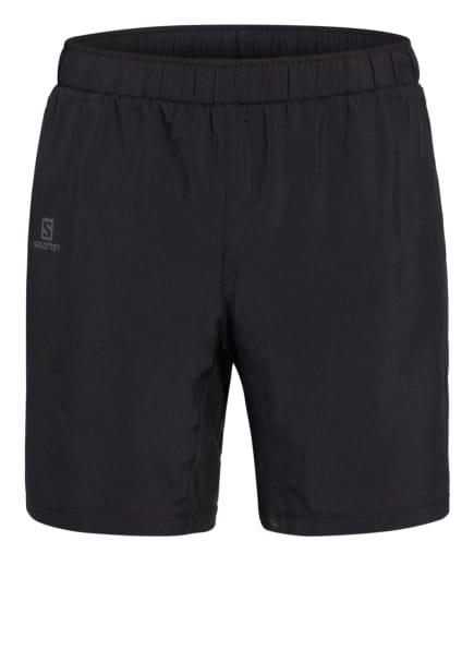SALOMON 2-in-1-Shorts AGILE mit Mesh-Einsätzen, Farbe: SCHWARZ (Bild 1)