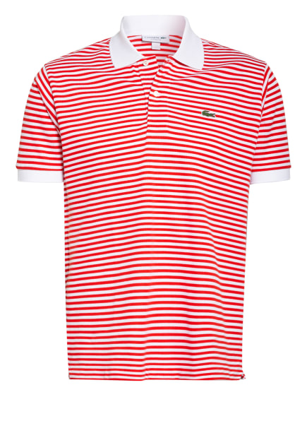 LACOSTE Piqué-Poloshirt Classic Fit, Farbe: WEISS/ ROT (Bild 1)