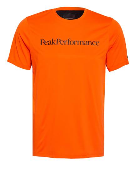 Peak Performance T-Shirt ALUM LIGHT mit Mesh-Einsatz, Farbe: NEONORANGE/ SCHWARZ (Bild 1)