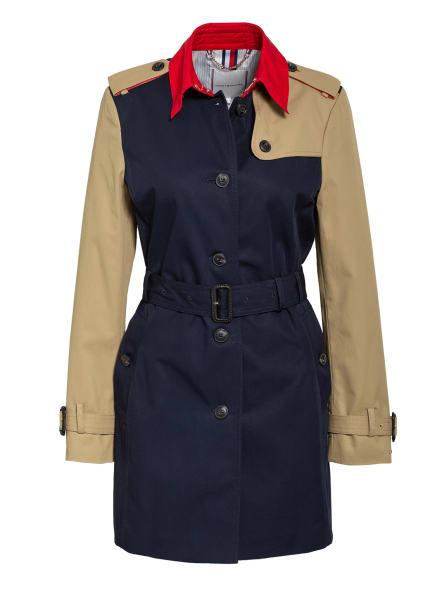 TOMMY HILFIGER Trenchcoat, Farbe: BEIGE/ DUNKELBLAU/ ROT (Bild 1)
