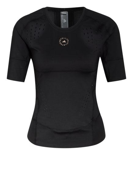 adidas by Stella McCartney T-Shirt TRUEPURPOSE mit Mesh-Einsätzen, Farbe: SCHWARZ (Bild 1)
