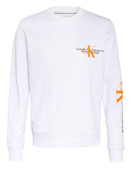 Calvin Klein Jeans Sweatshirt, Farbe: WEISS/ NEONORANGE (Bild 1)