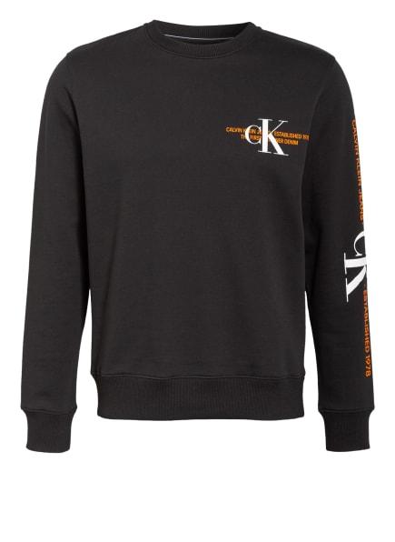 Calvin Klein Jeans Sweatshirt, Farbe: SCHWARZ/ NEONORANGE/ WEISS (Bild 1)