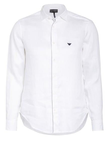 EMPORIO ARMANI Leinenhemd Regular Fit, Farbe: WEISS (Bild 1)