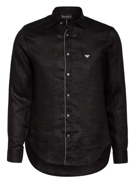 EMPORIO ARMANI Leinenhemd Regular Fit, Farbe: SCHWARZ (Bild 1)