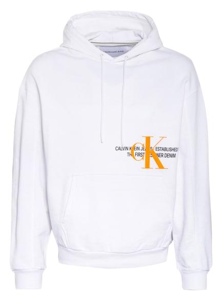 Calvin Klein Jeans Hoodie, Farbe: WEISS/ NEONORANGE (Bild 1)