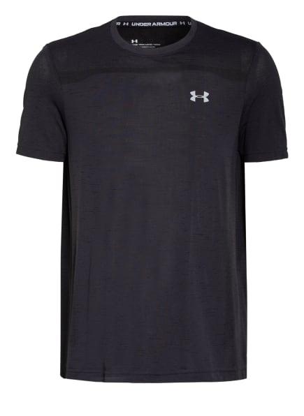 UNDER ARMOUR T-Shirt UA SEAMLESS mit Mesh-Einsatz, Farbe: SCHWARZ/ DUNKELGRAU (Bild 1)